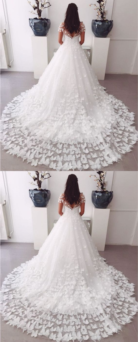 Aline Sweep Train Butterfly Wedding Dresses Lace Cap Sleeves