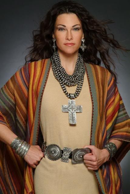 "I believe the dress and jacket are both by designer Laise Adzer featured here with fabulous concha belt, and other heavy silver ""old pawn"" Southwest Native American jewelry."