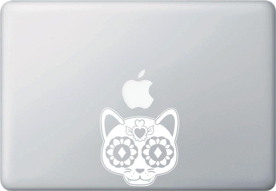 MB - Sugar Skull Cat - Day of the Dead - Día de los Muertos - Macbook   Laptop Vinyl Decal - © 2016 YYDC (Size and Color Choices)