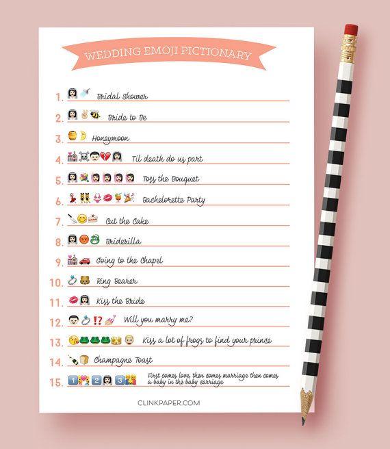 The ORIGINAL Wedding Emoji Pictionary- Bridal Shower Game ...