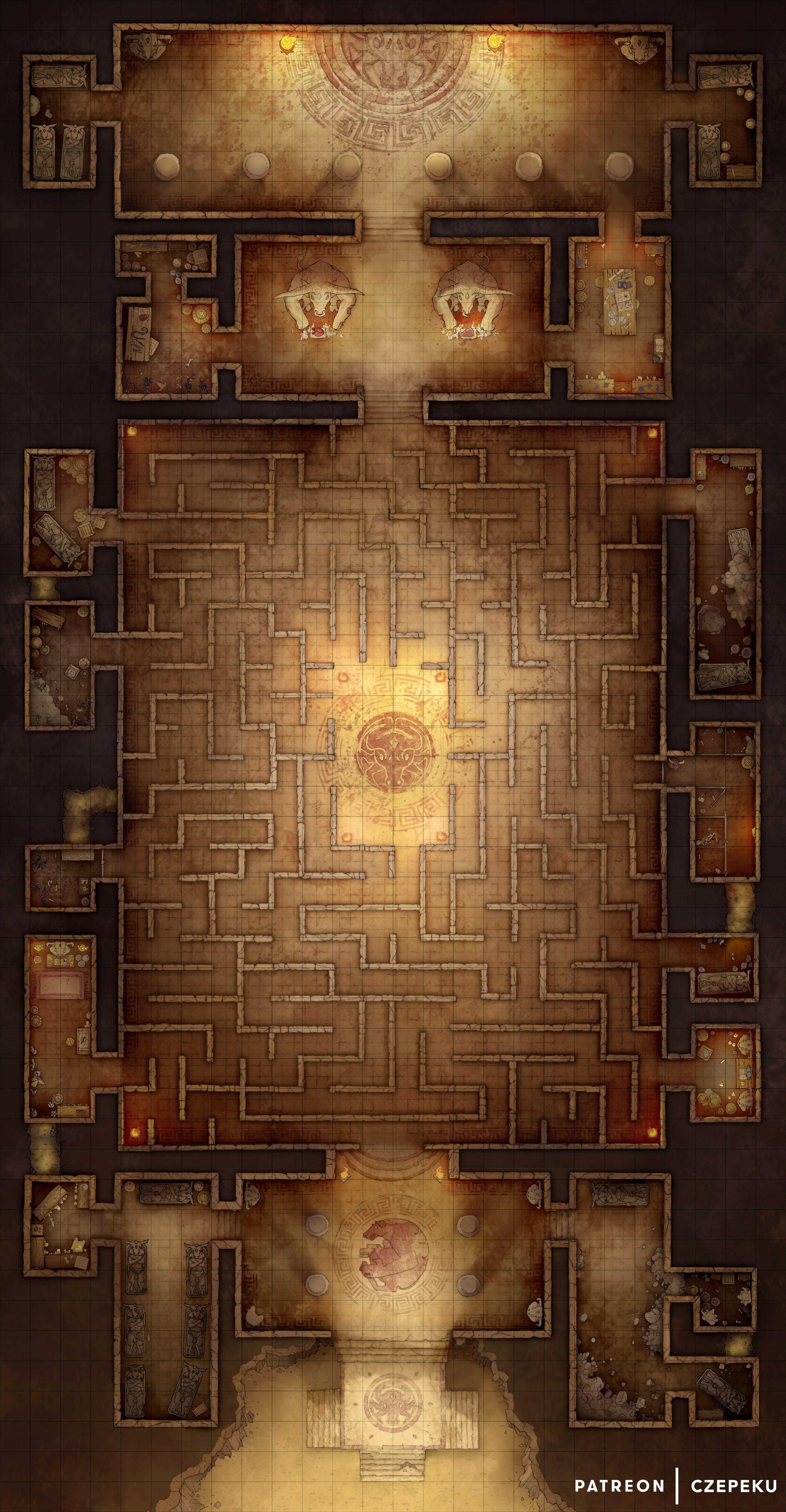 Free Minotaur Labyrinth Map [26x50] in 2019   Czepeku DnD Maps ... on