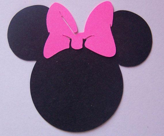 25 noir 2 pouces t tes de minnie mouse avec noeud rose ou - Dessin tete de minnie ...