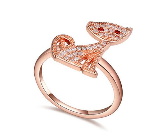 cat ring animal lovers ring for women rose by SimplyConnections