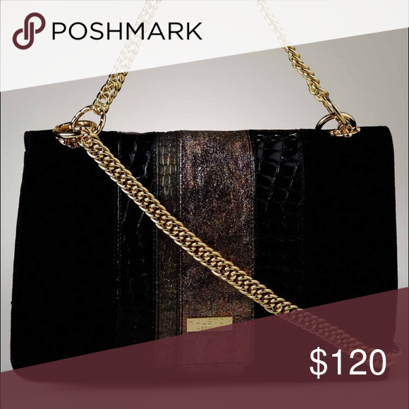 aa45d220807 Halston Heritage black clutch with gold chain Perfect for fall winter! This  bag comes with a gold small and long shoulder strap so you can wear it as a  ...