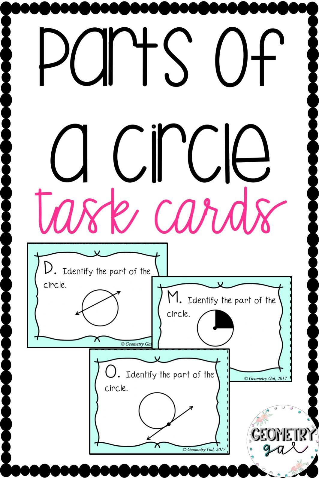 Parts Of A Circle Task Cards
