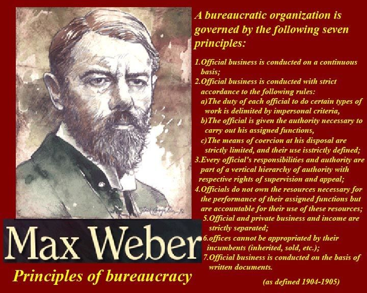 max weber on bureaucracy Bureaucratic management is a theory set forth by max weber, a german sociologist and political economist whose theory contained two essential elements, including structuring an organization into a.
