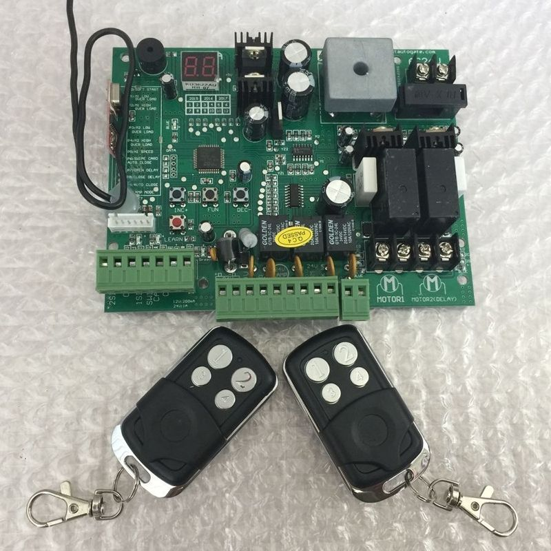 2 Remote Controls Swing Gate Opener Motor Controller Circuit Card Board 24v Dc Motor Only Control Board Swing Gate Opener Remote Controls Remote