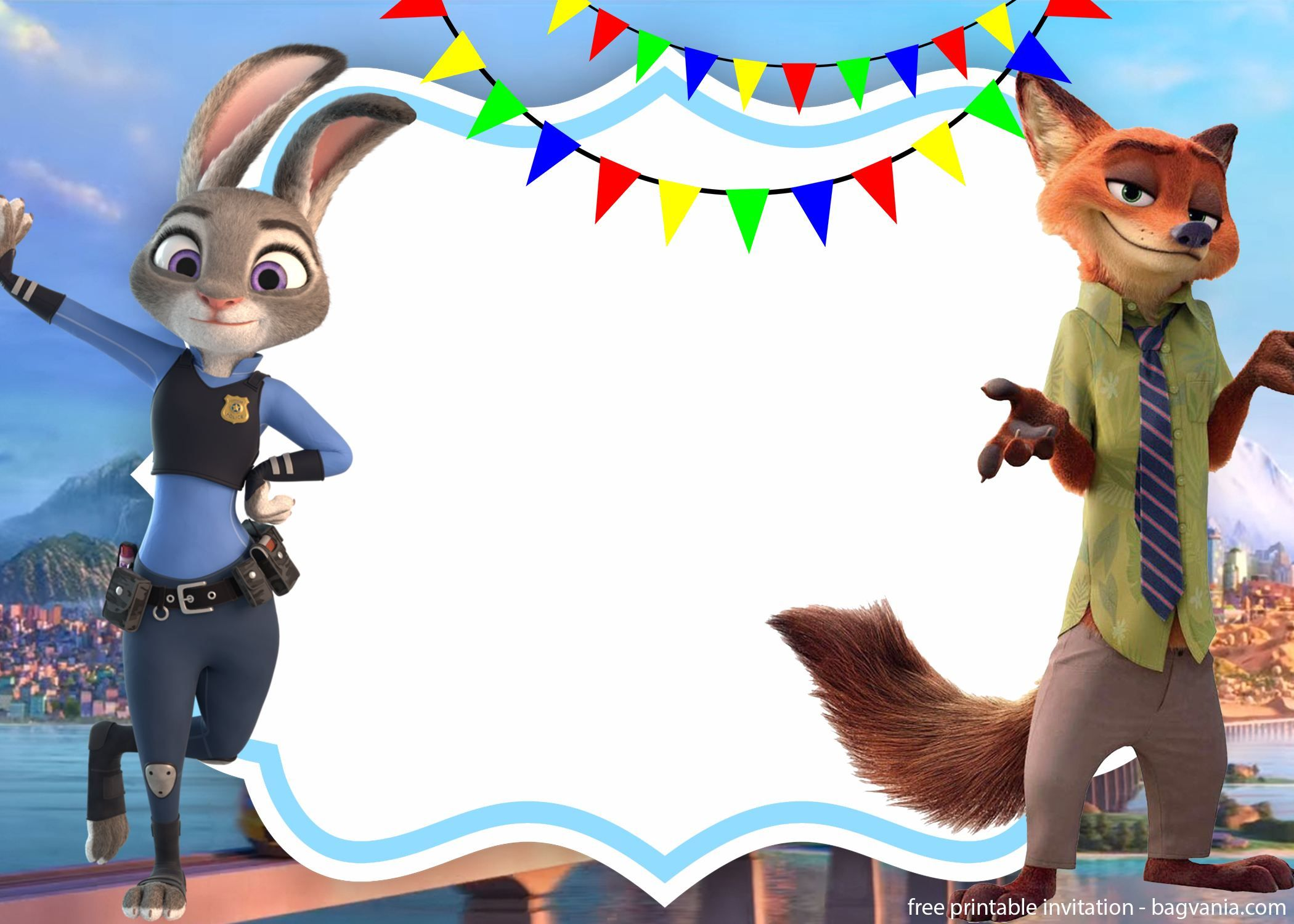 FREE Zootopia Nick and Judy Invitation Template  Zootopia
