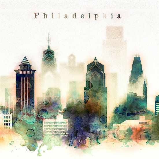Philadelphia Pennsylvania Watercolor Skyline
