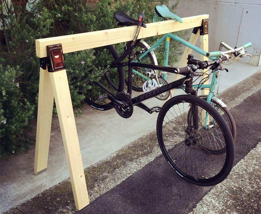 木製のスポーツ自転車用スタンドを自作してみた! Bikes ソーホースブラケット 自転車スタンド ソーホース