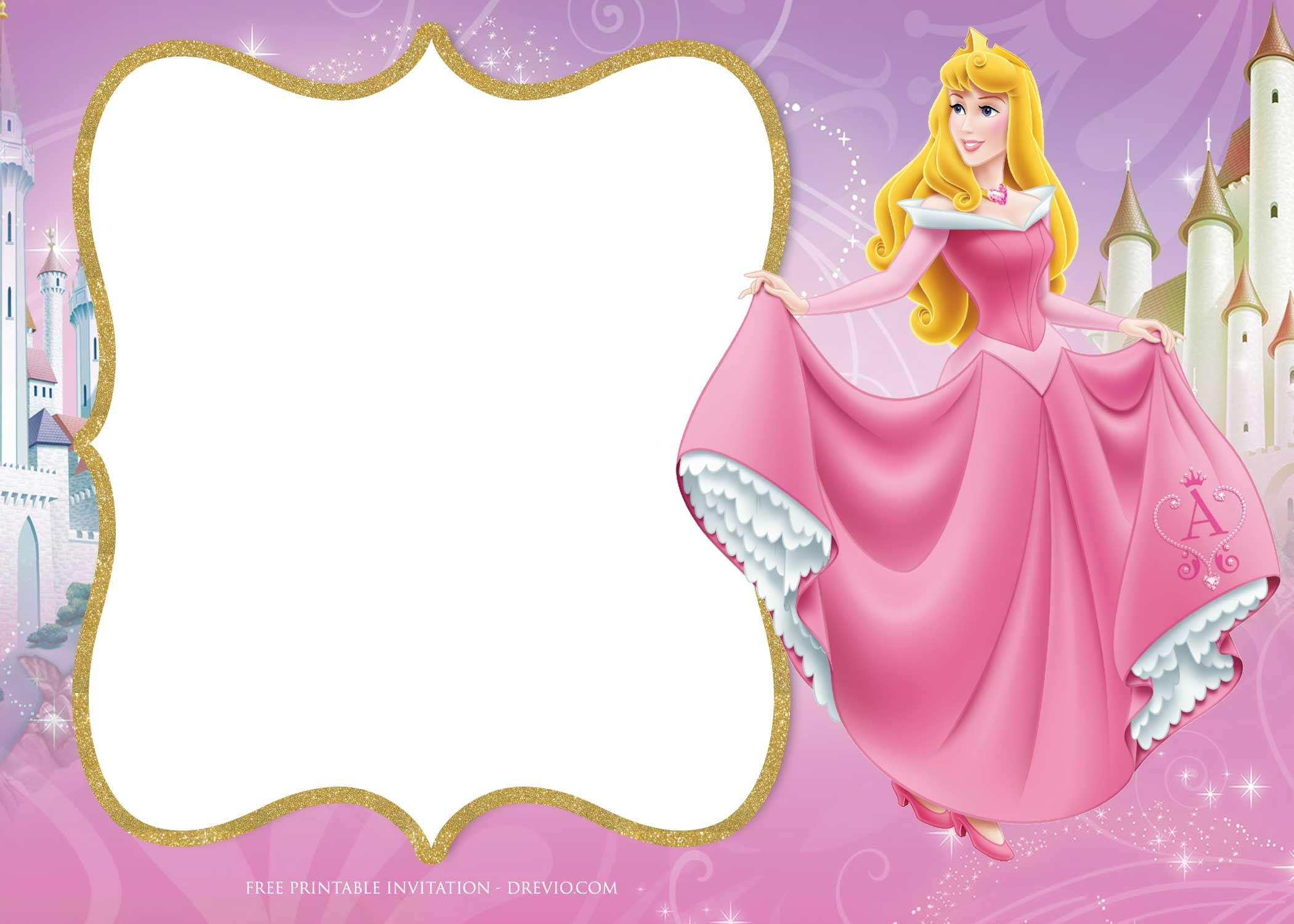 Download Now FREE Printable Princess Aurora Sleeping Beauty Invitation Templates