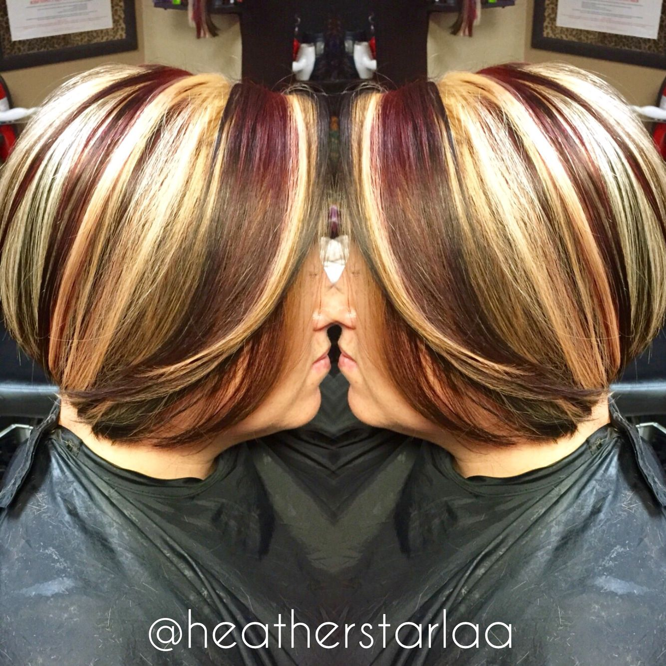 Chunky blonde and red highlights with s dark brown base on ...