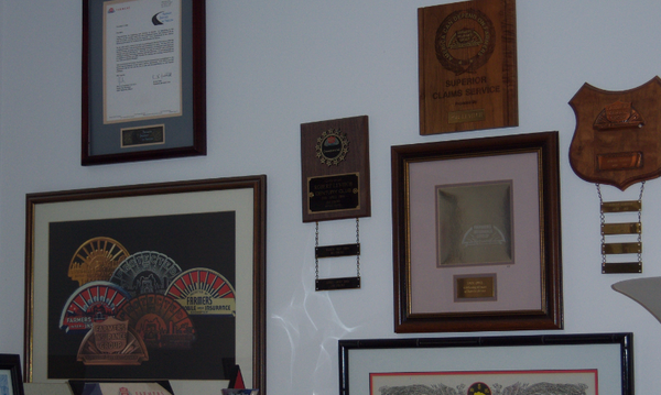 Some of the awards my agency has received displaying on