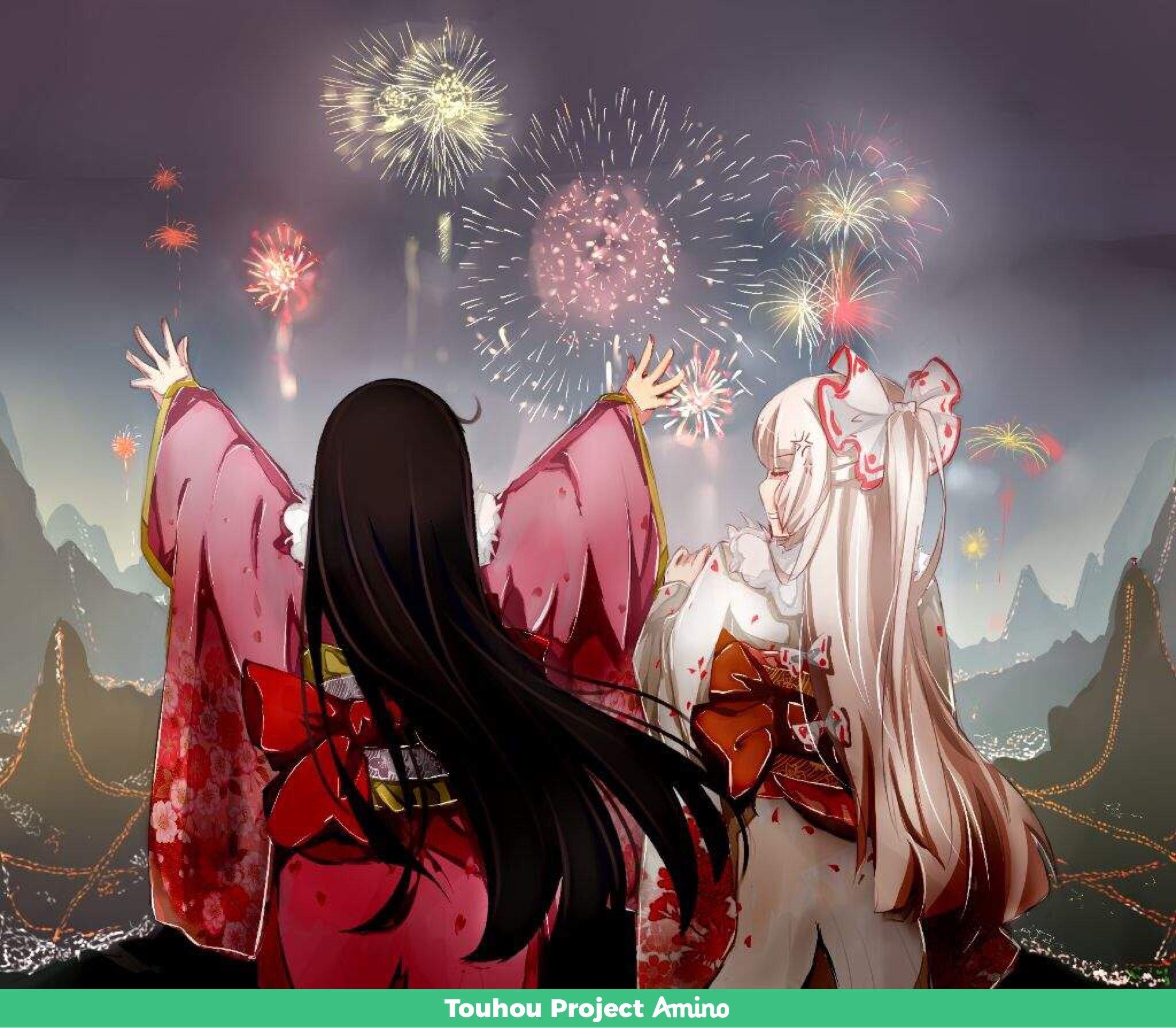 kaguya mokou and lots of fireworks 東方 かわいい イラスト 妹紅