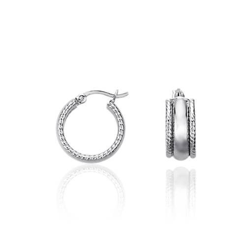 Blue Nile Designed Hoop Earrings in Sterling Silver (5/8) uGO5751TFX