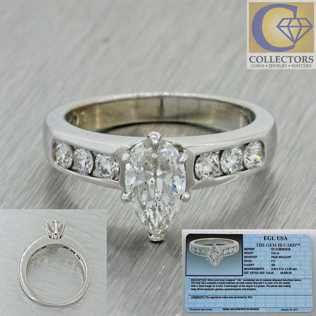 Vintage Estate 14k Solid White Gold .91ct Pear FG Diamond Engagement Ring EGL