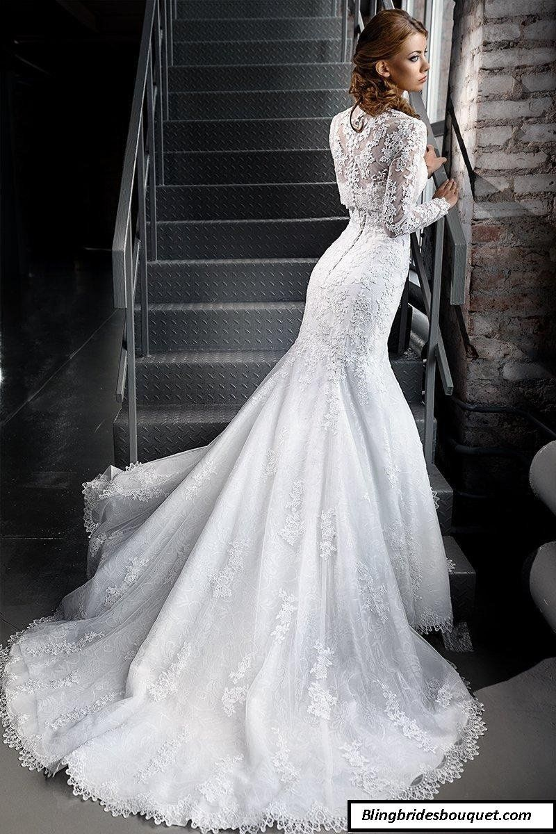 Mermaid Lace Wedding Dresses With High Neck Long Sleeves At Bling Brides Bouquet Stunning Bridal Dresses Lace Mermaid Wedding Dress Lace Weddings Long We,Lavender Purple Wedding Dresses