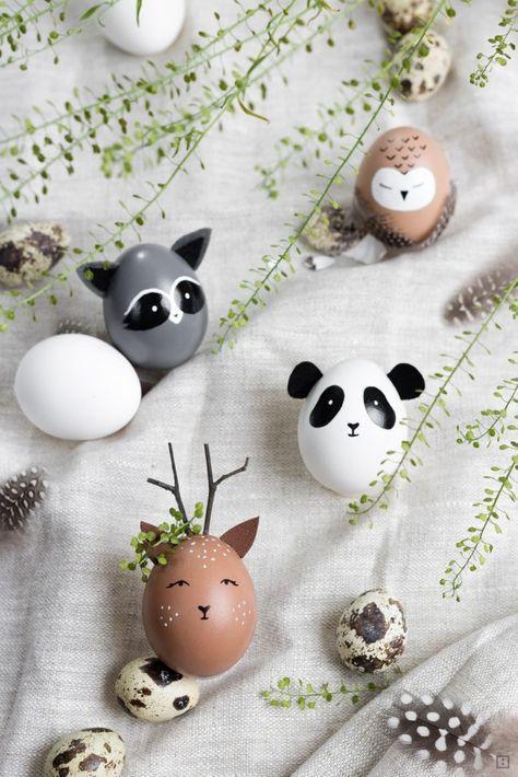 Ostereier bemalen - tierische Ostereier - Dekoration - Wildtiere Eierköpfe - Reh Panda Eule Waschbär