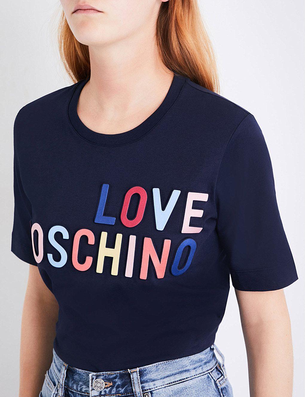51814dff7e LOVE MOSCHINO Logo-embossed cotton-jersey T-shirt   Print & Emb Tec ...