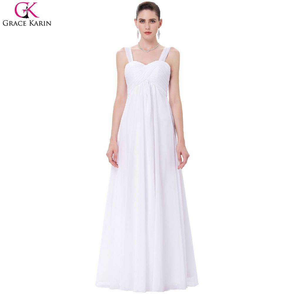Grace karin long evening dress chiffon white wedding party gowns