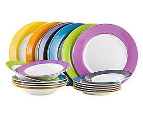 servizio piatti in porcellana flash art multicolor 18 pz