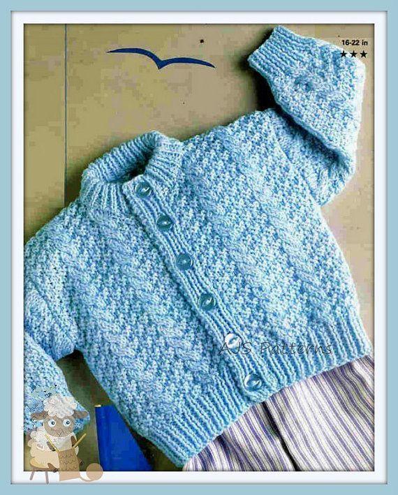 PDF Knitting Pattern - Baby & Toddlers Textured Cardigan 16-22 ...