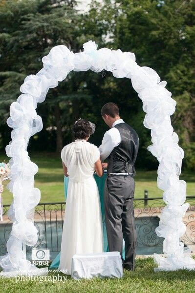 Mesh wedding arch