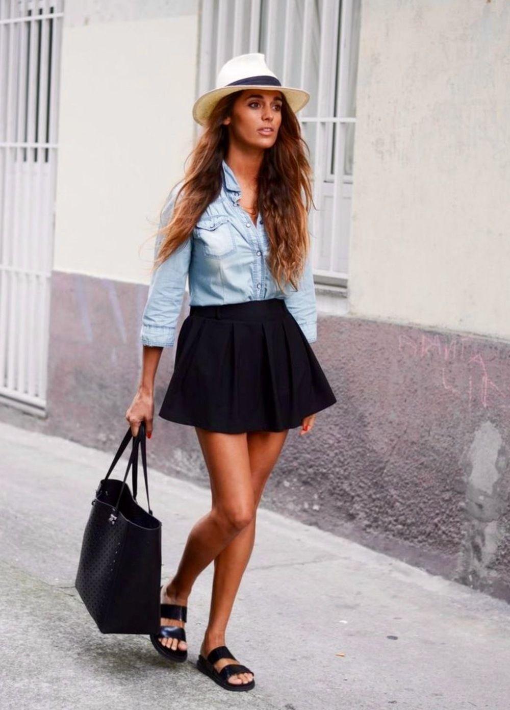 Outfits Con Falda Circular Negra - Buscar Con Google | Verano | Pinterest | Faldas Circulares ...