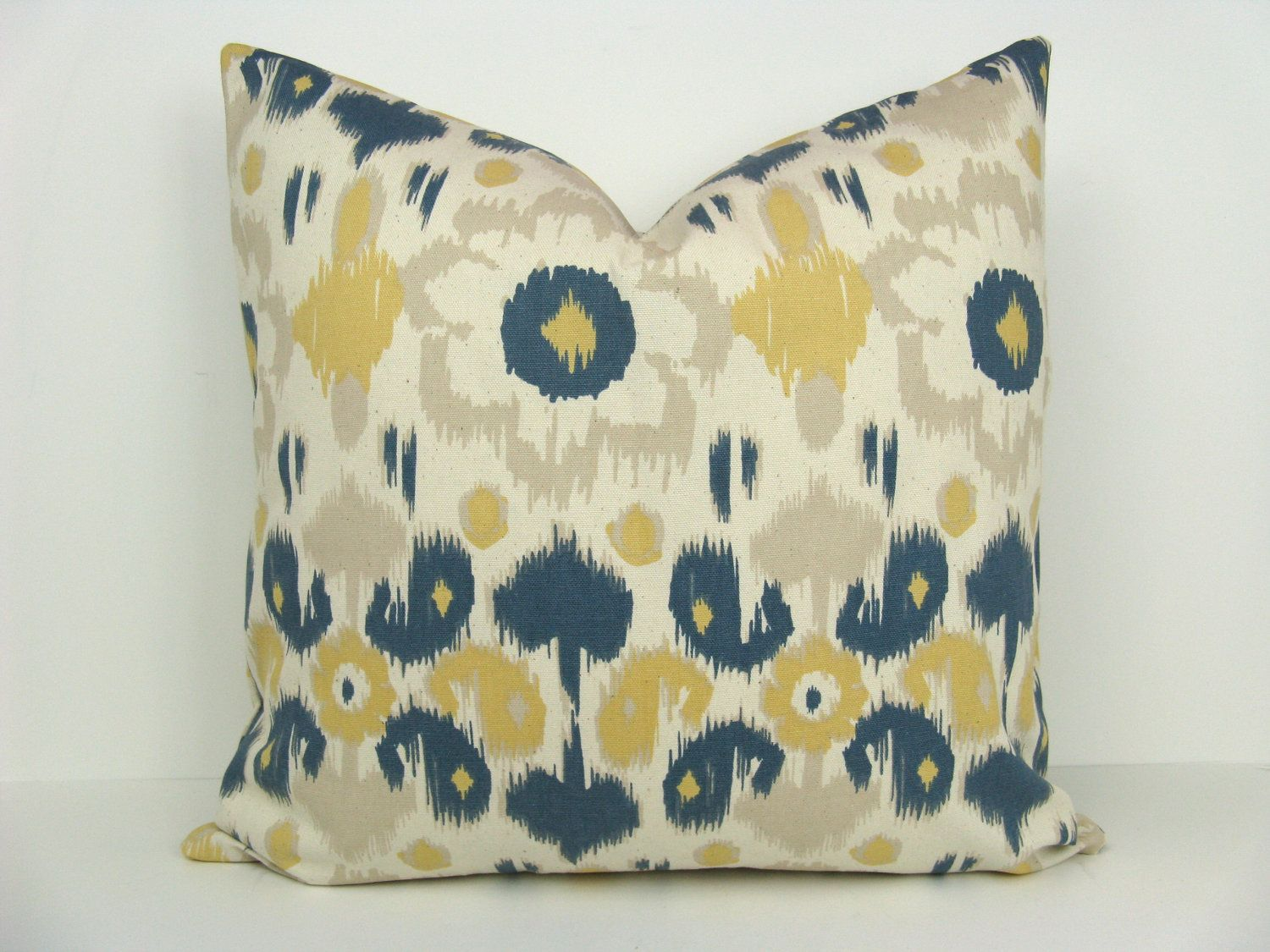 Navy blue and yellow decorative pillows - Ikat Pillow Ikat Pillow Cover Blue Ikat Pillow Throw Pillow Cover Yellow Pillow Blue Yellow Pillow Printed Fabric Both Sides