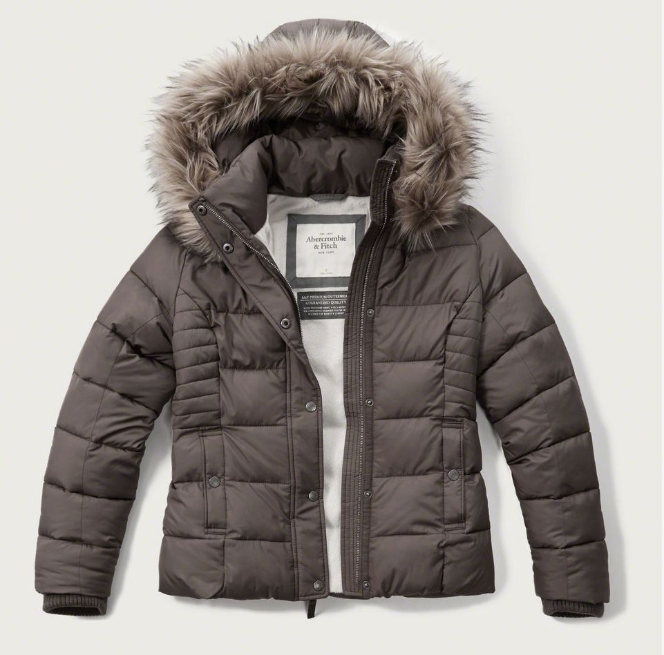 0e404c6d6 NEW Abercrombie   Fitch Womens Ladies Puffer Jacket Faux Fur Hoodie ...