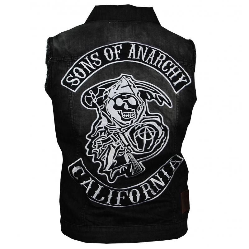 latest sons of anarchy fancy veste jean noir sans manche sons of anarchy the new designers