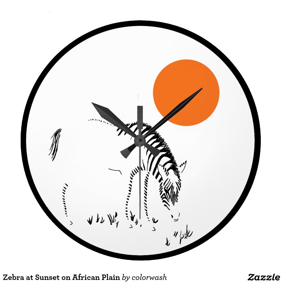 Zebra at Sunset on African Plain Large Clock - It will always be sunset in Africa on this unique clock with its original abstract illustration of a zebra browsing grass on the plain. The orange of the sun playing against the pure black and white turns time into art for the wall. #zebra #clock #Africa