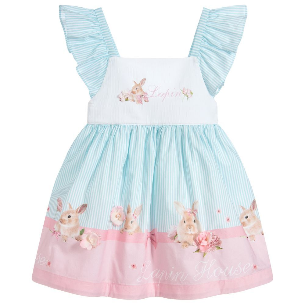 1423ad725 Younger girls white, pink and blue striped dress from Lapin House. It is  made and lined in lightweight cotton, with ruffle sleeves.