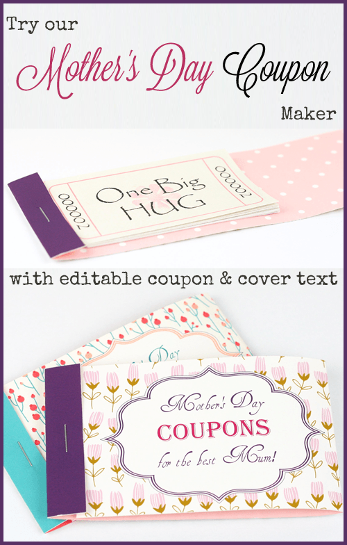 Mothers Day Coupon Booklets To Personalize And Print Mother S