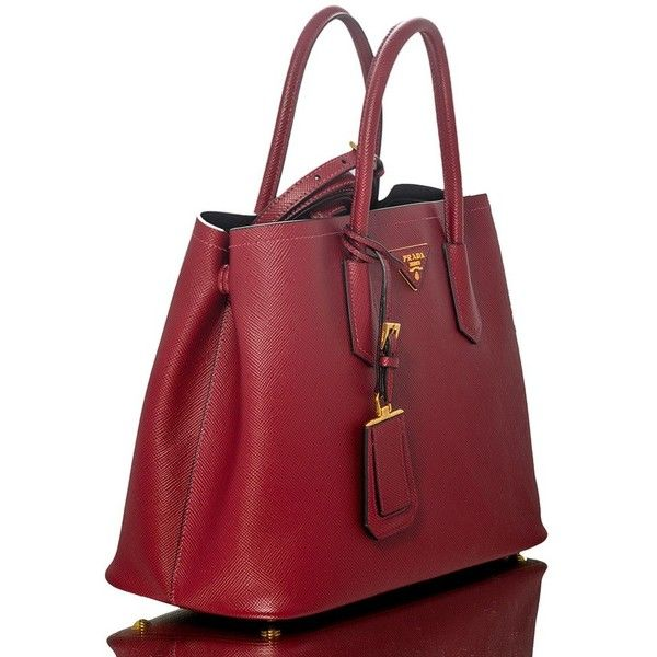 Prada Handbag Red Cerise Saffiano Leather Bn2775 Liked On Polyvore Featuring Bags Bag And