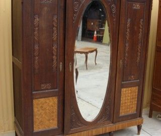 old vintage antique mahogany closet wardrobe cedar furniture photo french