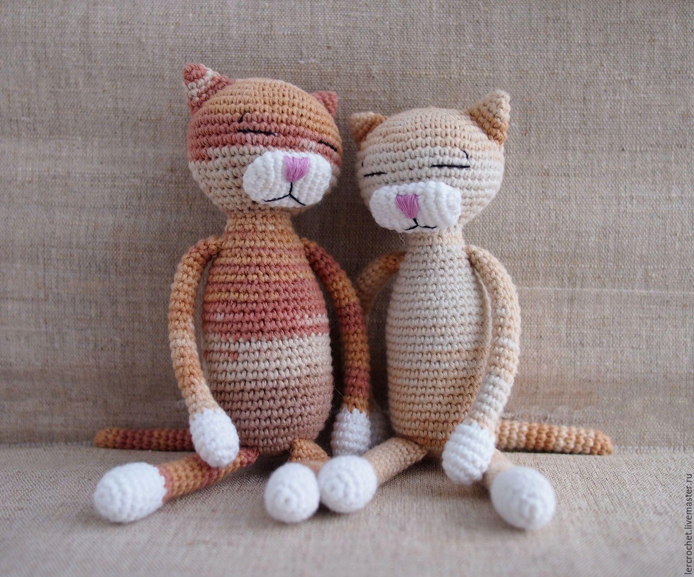Купить Вязаный кот Аминеко - коричневый, аминеко ...
