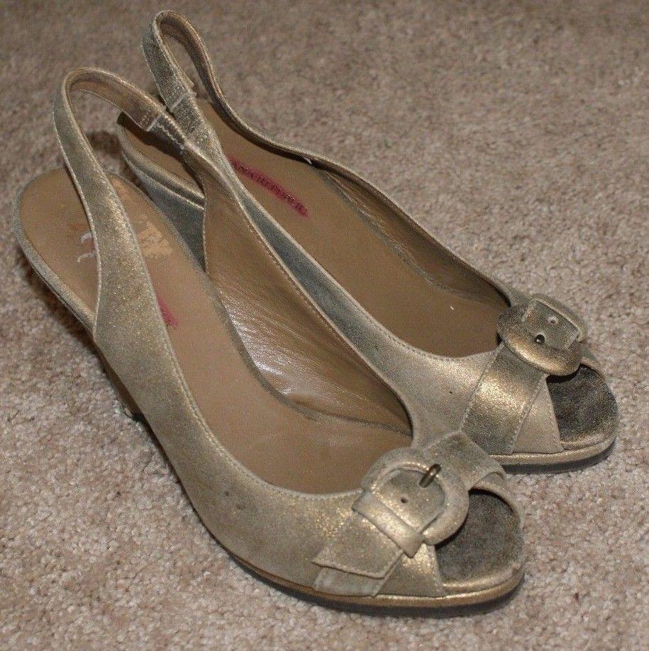 Banana Republic gold schuhe Leder wedge heel sling back Sandale schuhe gold 024919