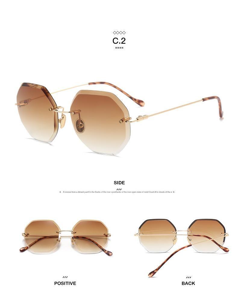 1b4a9c088f6 2018 Luxury Rimless Sunglasses Women Brand Designer Oversized Sun Glasses  Female Diamond Cutting Eyeglasses For Lady