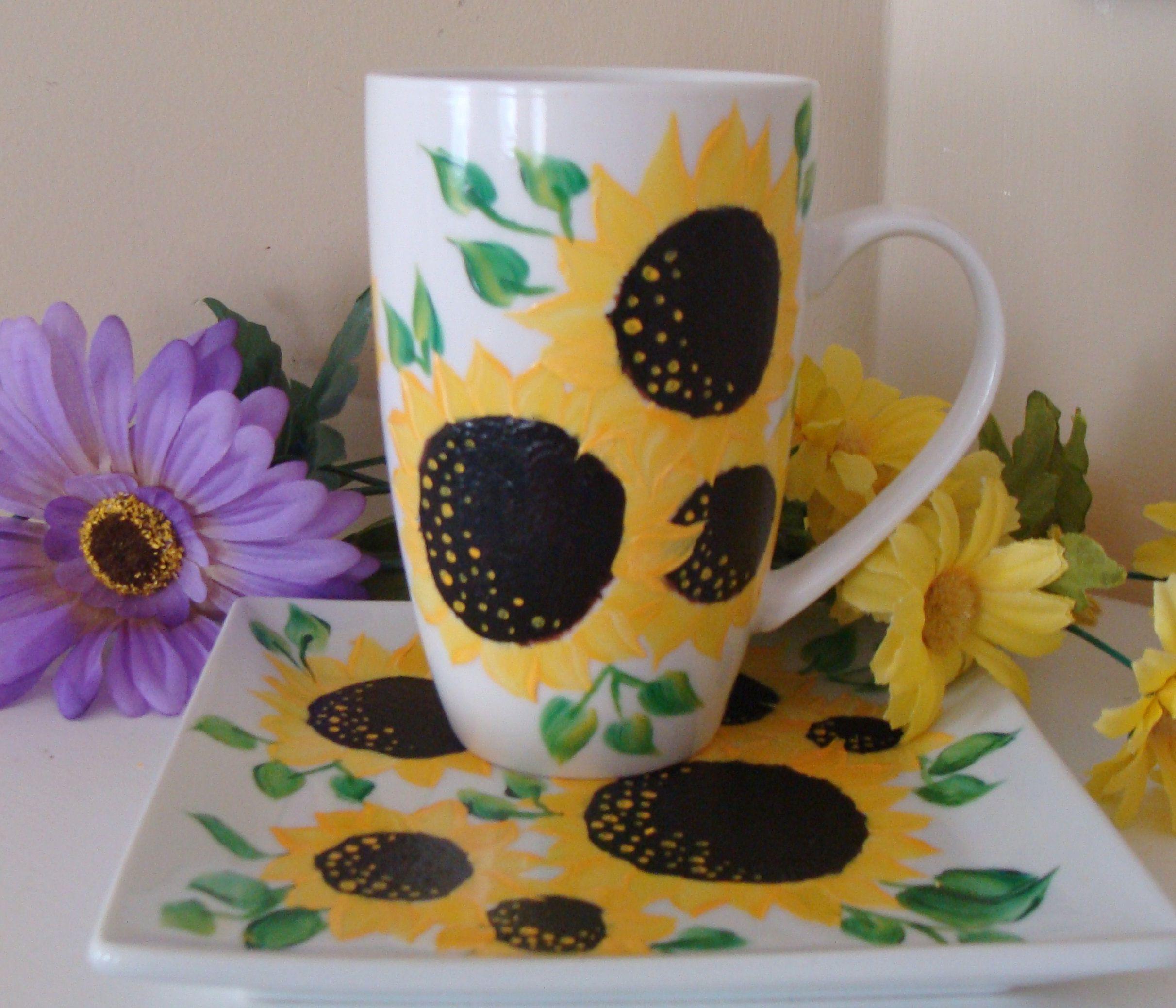 Sunflower Cup and Saucer Set, Sunflower Mug Plate, Autumn dish ware, Sunflower Kitchen Decor, Fall Decor, Floral, Thanksgiving Dinnerware