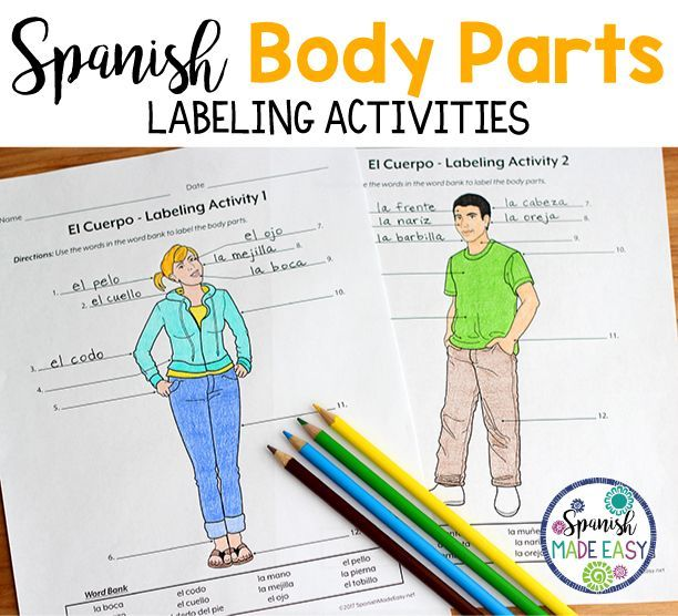 El Cuerpo Body Parts Spanish Labeling Activities Spanish