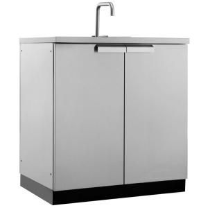 Newage Products Stainless Steel Sink 32 In W X 36 5 In H X 24 In D Outdoor Kitchen Cabinet 65001 The Home Depot Modular Outdoor Kitchens Outdoor Kitchen Cabinets Outdoor Kitchen