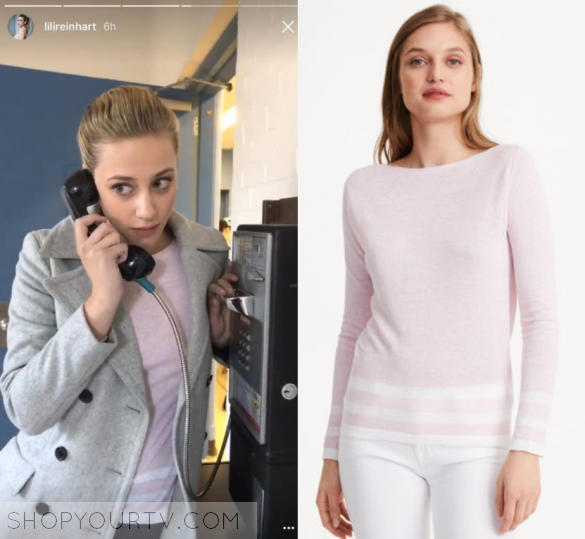 Betty Cooper Lili Reinhart Wears This Pink Sweater With Striped