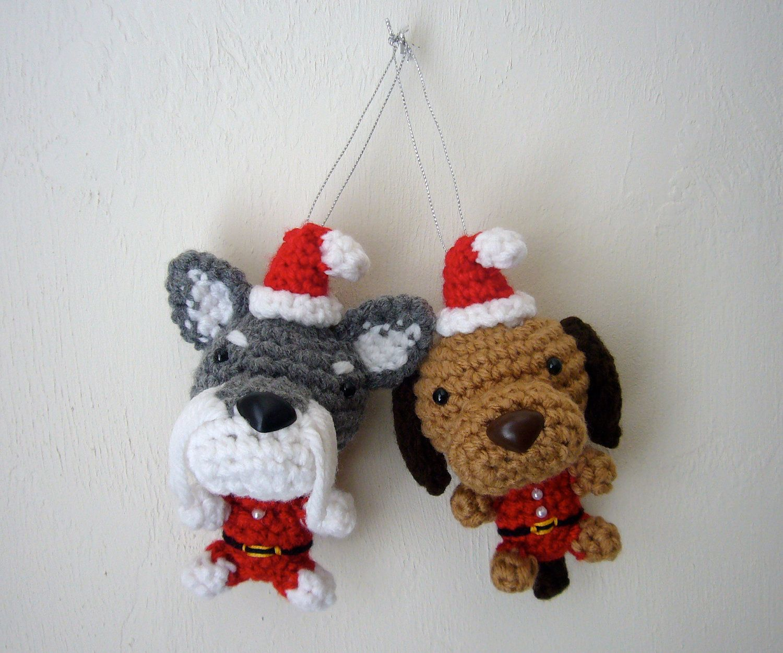 Christmas+Tree+Ornament+Dog+Santa+Amigurumi+Puppy+by+Inugurumi,+$29.00