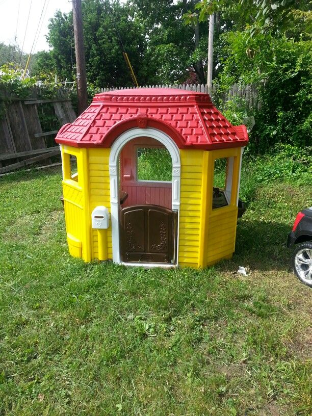 charming Little Tikes Victorian Cottage Part - 16: Little tikes Victorian play house painted by my husband. Krylon spray paint  for plastic was the only thing used and looks amazing!