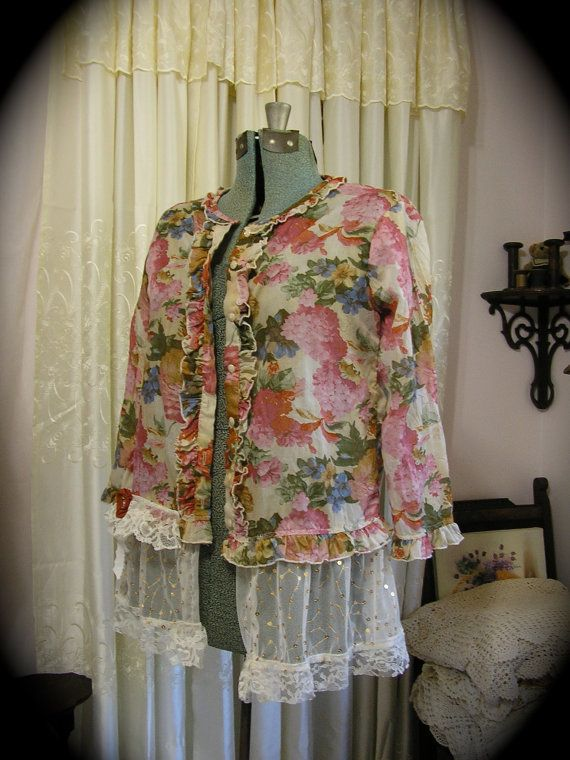 Ruffle Floral Shirt soft semi sheer fabric by TatteredDelicates, $50.00