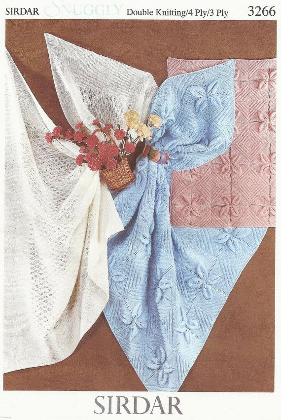 PDF Knitting pattern Sirdar snuggly 3266 lacy shaws pram and cot ...