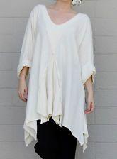 OH MY GAUZE Cotton Lagenlook  RENNE  Flared Godet Tunic Top OS  1X/2X/3X  BONE