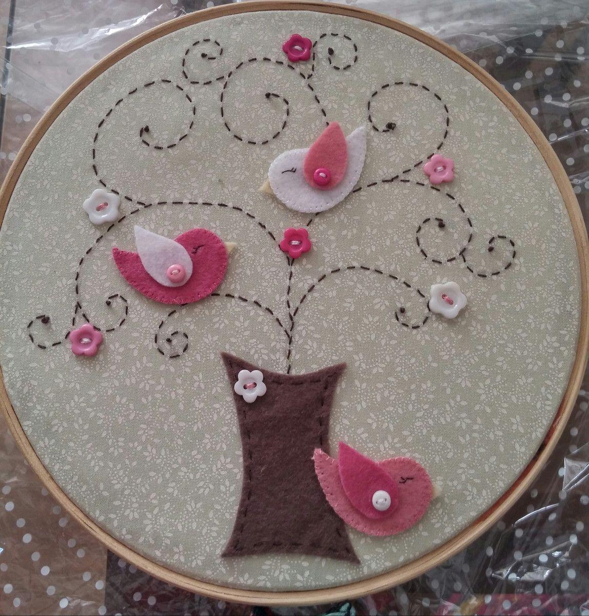Quadro bastidor árvore encantada | Pinterest | Bordado, Fieltro y ...