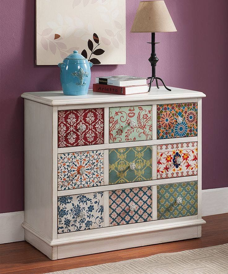 Do With Different Papers Mod Podge And Maybe Even Different Handles On Each Drawer Alte Mobel Decoupage Mobel Bunte Mobel